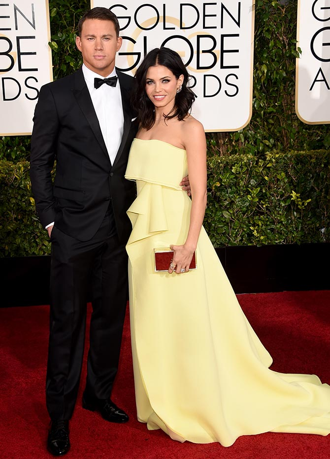 Jenna Dewan Tatum in a Carolina Herrera gown and Lorraine Schwartz jewellry accompanied by Channing Tatum in Dolce Gabbana