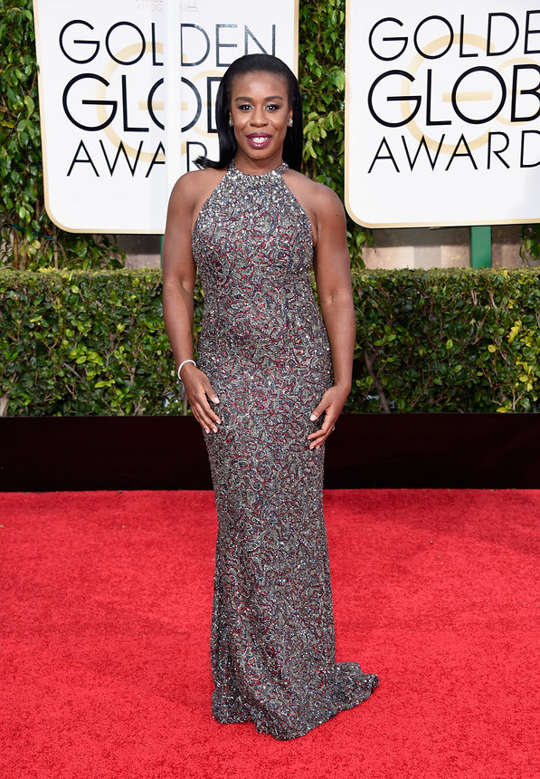 Uzo Aduba in a Randy Rahm gown and Kimberly McDonald jewellry
