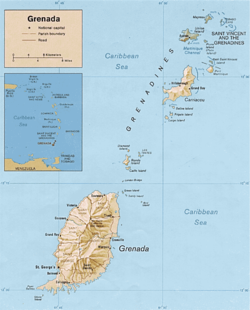 Map of the Tri-island state of Grenada, Carriacou and Petite Martinique