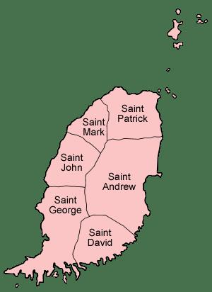 Map of Grenada naming the parishes