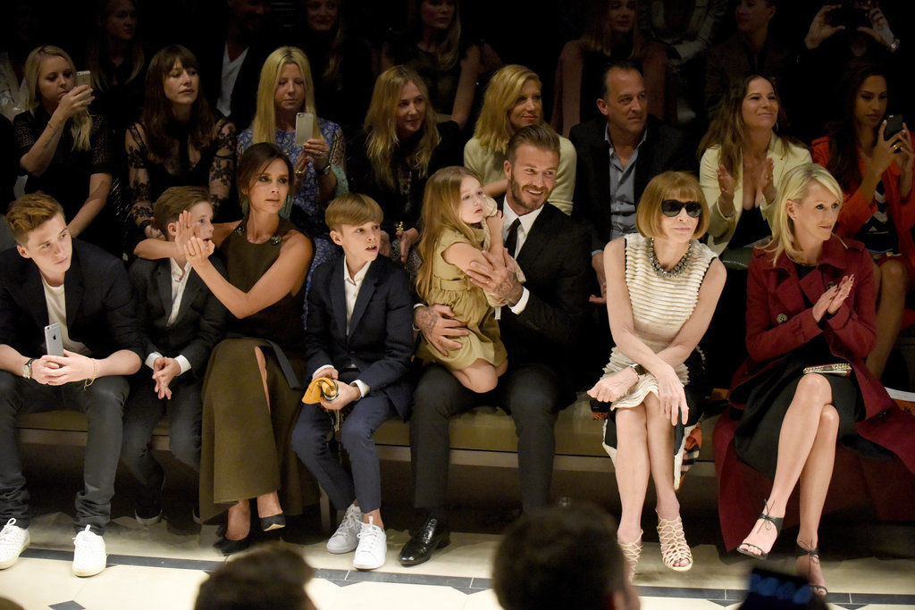 "The Beckhams beside Anna Wintour at the Burberry ""London in Los Angeles"" Runway Show"