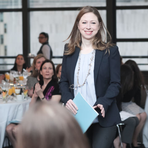 Chelsea Clinton speaking at a Philanthropy and Female leader breakfast