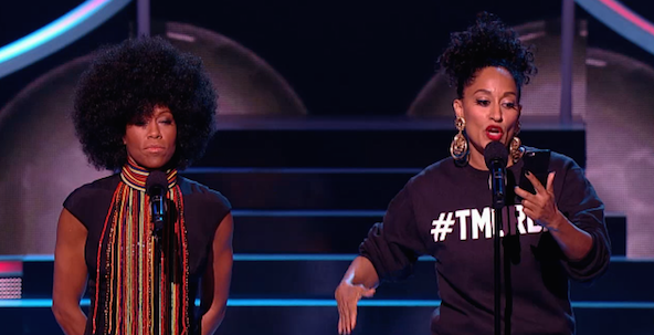 Regina King and Tracee Ellis a Queen Floetic and T-Murda give an impromptu rap performance