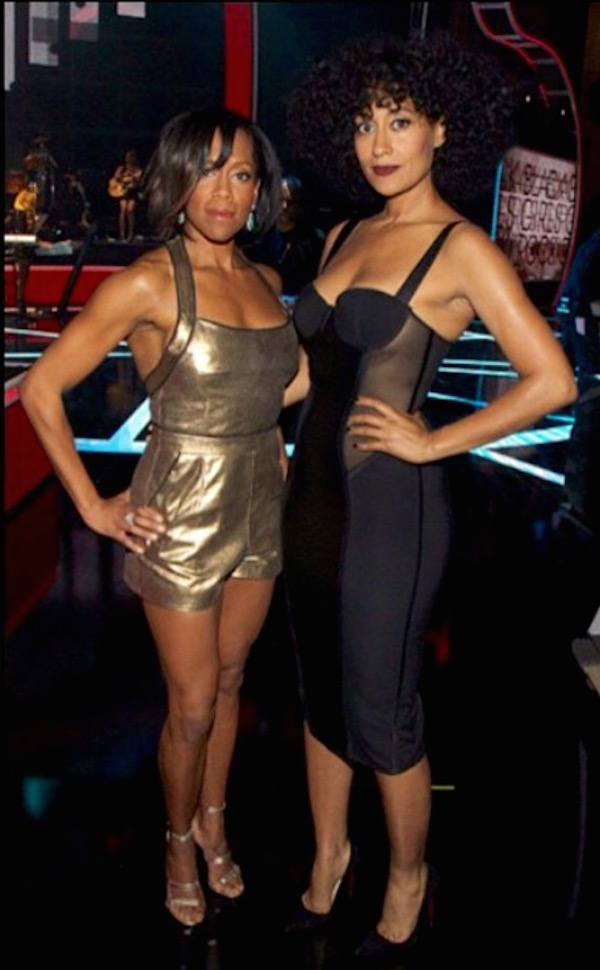 hosts Regina King and Tracee Ellis Ross backstage after an outfit change