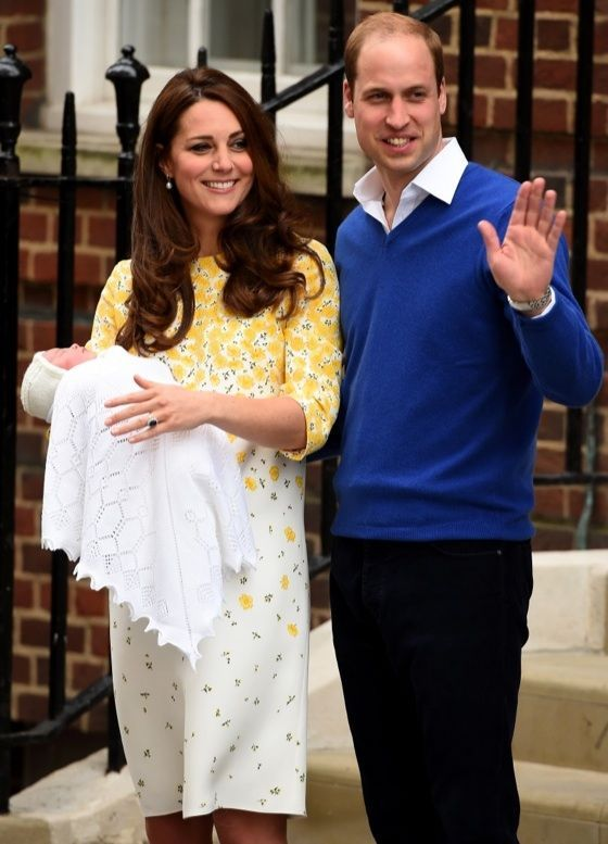Prince William and the Dutchess of Cambridge, Kate Middleton with their new born daughter, princess Charlotte Elizabeth Diana