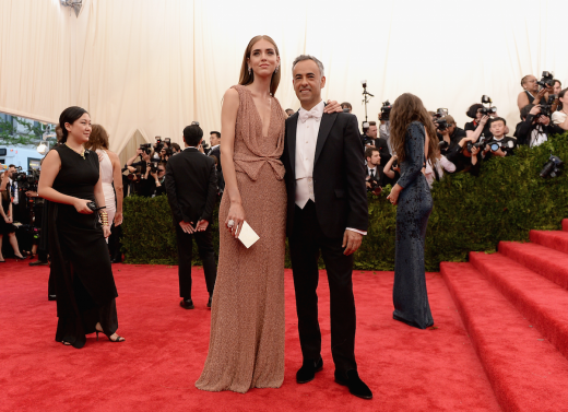 Blogger Chiara Feraggni of the Blonde Salad on the red carpet with designer Francisco Costa at the Met Gala 2015