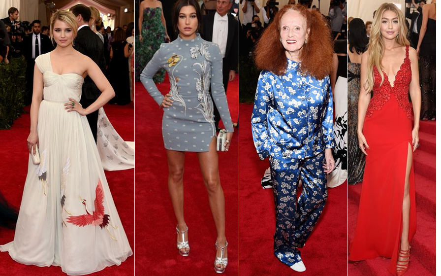 Diana Argon in, Hailey Baldwin in. Grace Coddington in, Gigi Hadid in DVF at the Met Gala 2015