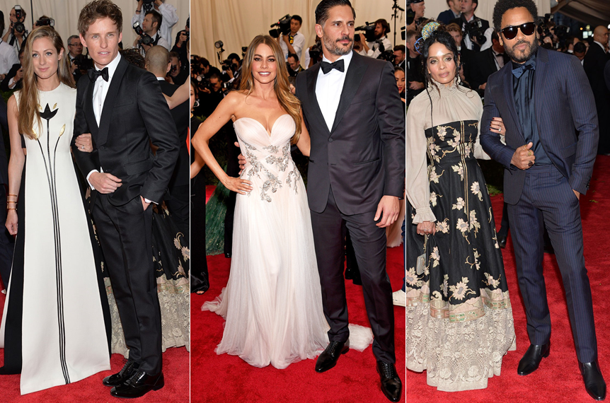 Eddie Redmayne with wife Hannah Bagshawe both in Valentino, Sofia Vergara in Marchesa, Lisa Bonet and Lenny Kravitz in... at the Met Gala 2015