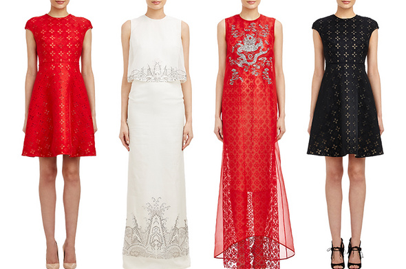 Chinese Designer Huishan Zhangs four piece capsule collection for Barneys in commemoration of this years Met Gala