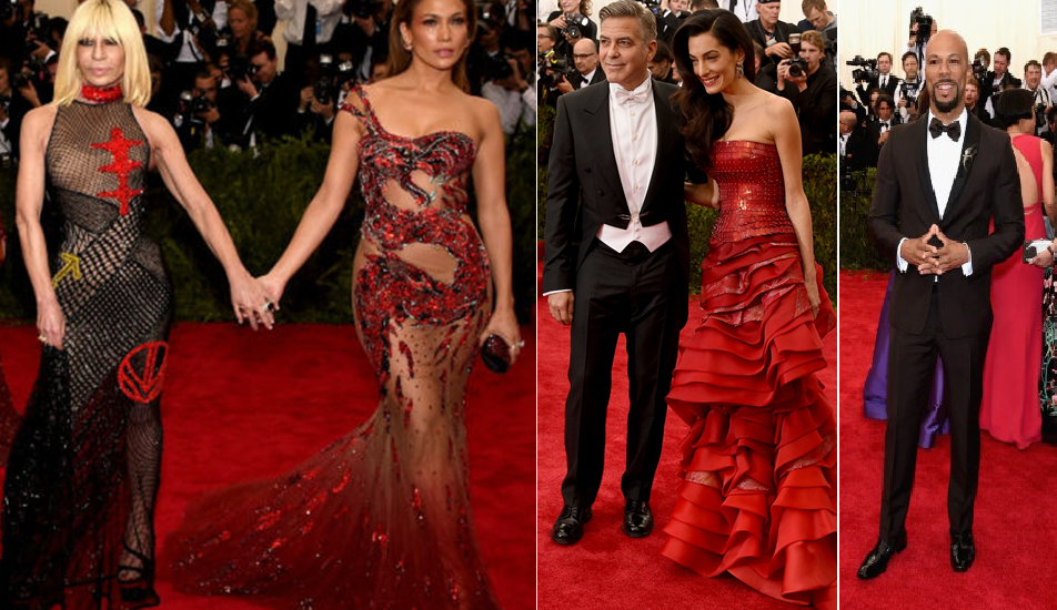 Donatella Versace and Jennifer Lopez in Versace and George and Amal Clooney in John Galliano for Maison Margiela and rapper Common in Prada at the Met Gala 2015