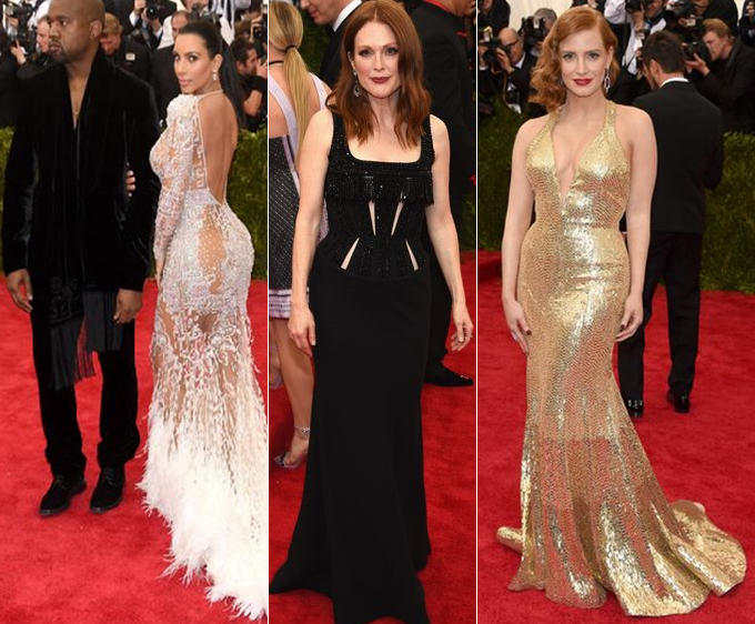 Kim Kardashian in Roberto Cavalli and Kanye West, Julianne Moore in ..., and Jessica Chastain in... at Met Gala 2015