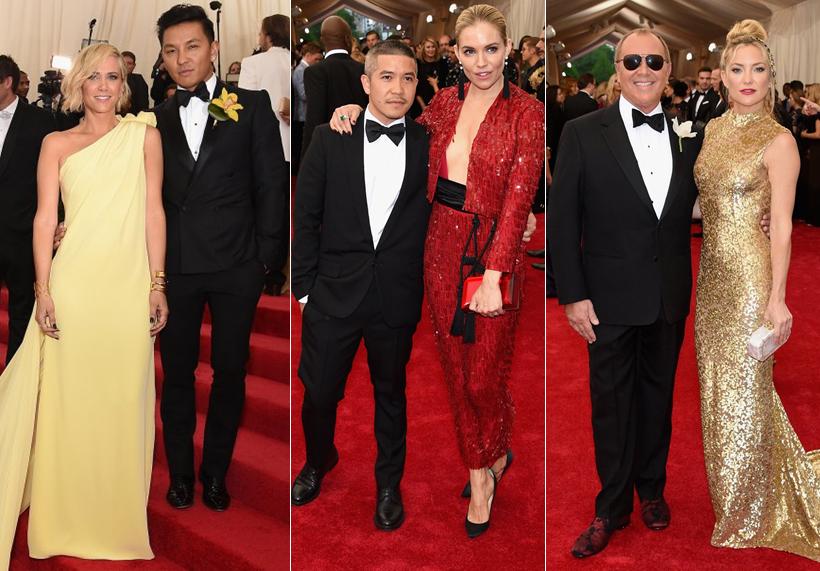 Actress Kristen Wiig in Prabal Gurung alongside the designer, Siena Miller with Thakoon, Michael Kors and Kate Hudson at the Met Gala 2015