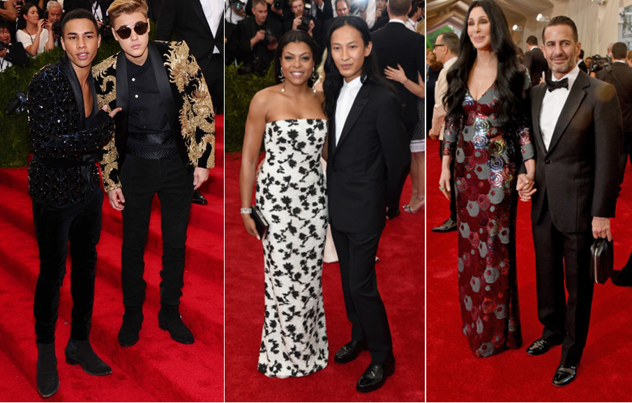 Olivier Reusting of Balmain with Justin Beiber in Balmain, Taraji P. Henson in Balenciaga alongside creative director and designer Alexander Wang, and singer Cher in Marc Jacobs with the designer at the Met Gala 2015