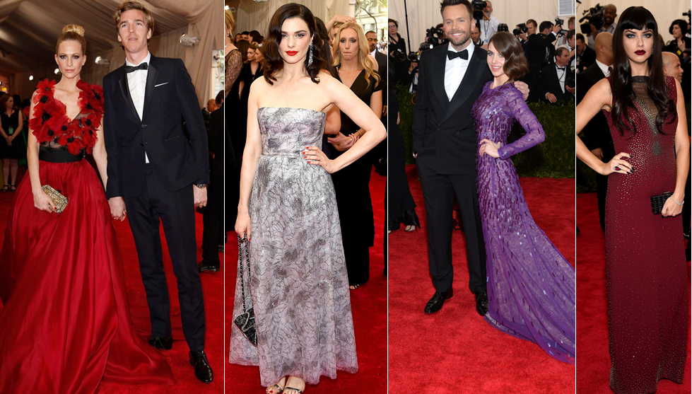 Poppy Delvigne in Marchesa with husband James Cook, Emily Weisz in Chanel, Dave Franco with Alison Brie in Prabal Gurung an Ariana Lima in Marc Jacobs at the Met Gala 2015.