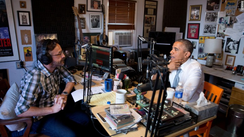 "President Obama with comedian Marc Maron for an on the ""WTF"" podcast"