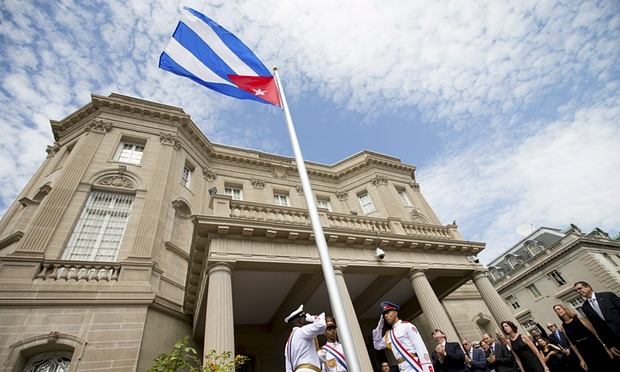 Cuban Flag raised at the Cuban embassy in Washington