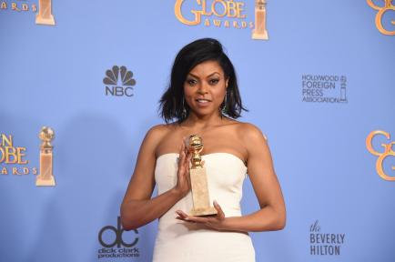 Taraji P Henson with her Golden Globe for Best Actress in a TV Drama