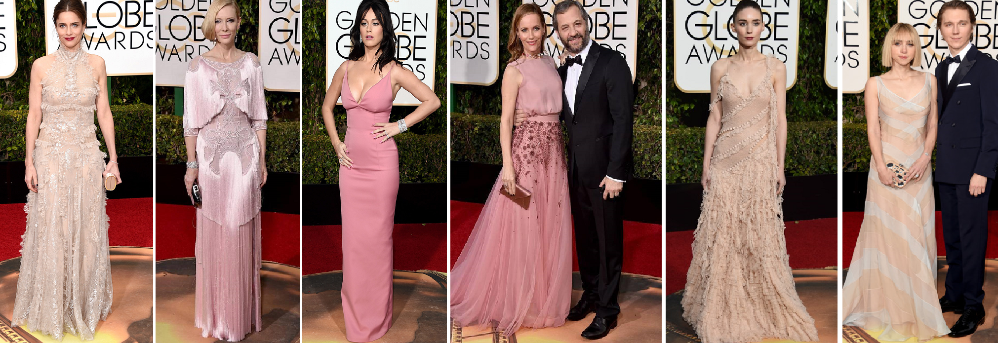 Pastels Abound - Amanda Peet in alexander McQueen, Cate Blanchett in Givenchy, Katy Perry in Prada, Leslie Mann in Monique L'Huilier with Judd Apatow, Rooney Mara in Alexander McQueen, Zoe Kazan with Paul Dano