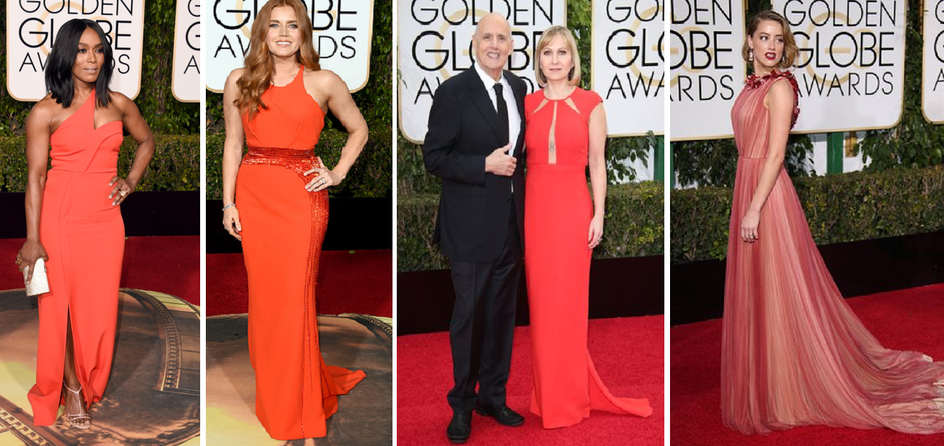 And variants of Tangerine - Angela Bassett in Safiyaa, Amy Adams in Versace, Kasia Ostlun with Jefferey Tambor, and Amber Heard in Gucci