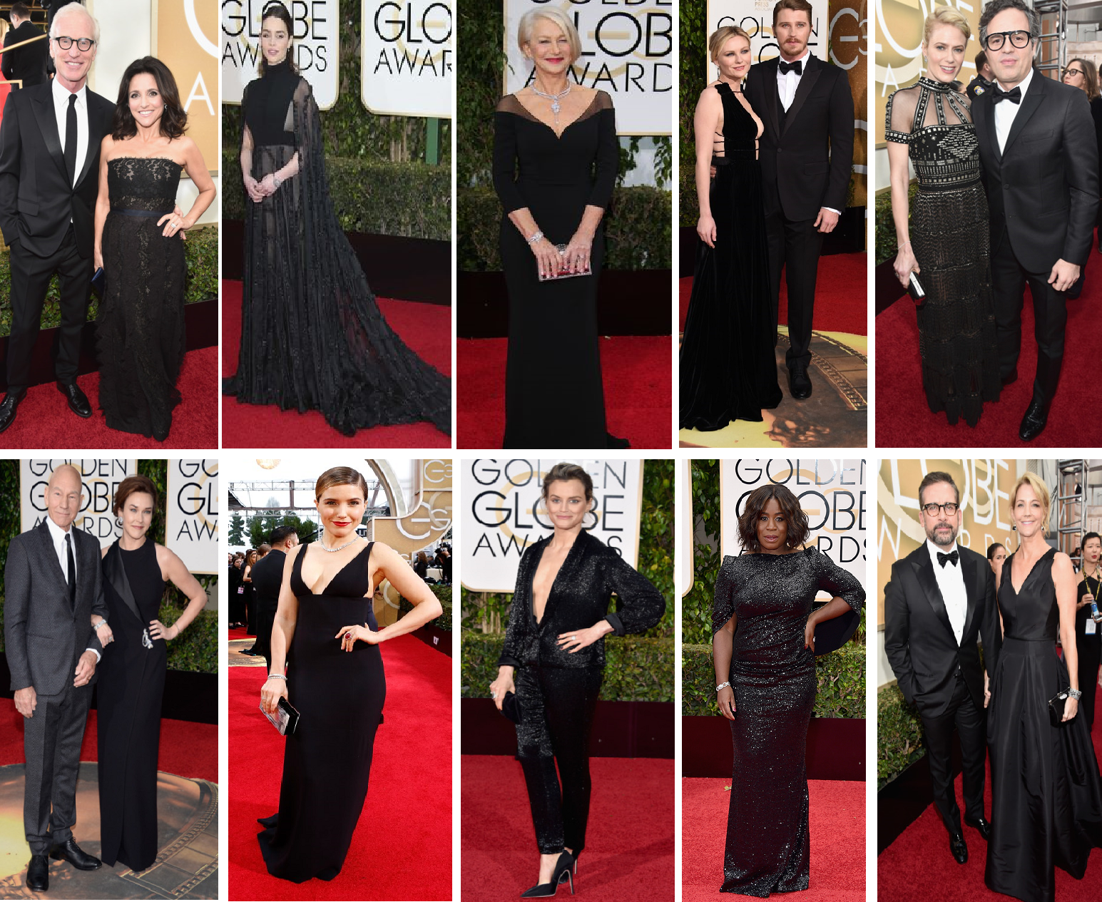 Julia Louis-Dreyfus in Lanvin with Brad Hall, Emilia Clarke in a Valentino gown and cape befitting of a Khaleesi, Kirsten Dunst in Valentino Haute Couture with Garrett Hedlund, Sunrise Coigney with hubby Mark Ruffalo, Sunny Ozell with Patrick Stewart, Sophia Bush in Narciso Rodriguez, Orange is the New Black's Taylor Schilling Thakoon's black bugle beaded evening suit, Co-star Uzo Aduba in a black sequined number and Nancy Carell with comedian hubby Steve Carell