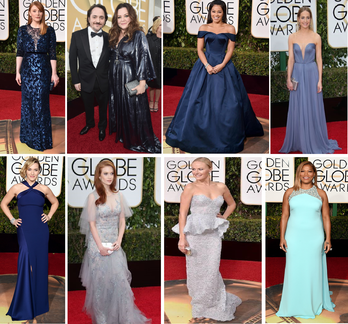 And Oceans were blue - Bryce Dallas Howard in Jenny Packham, Melissa McCarthy in a personal design, Gina Rodriguez in Zac Posen, Joanne Froggart in Reem Accra, Kate Winslet in Ralph Lauren, Sarah Hay, Malin Ackerman in Reem Accra, Queen Latifah in Badgley Mischka