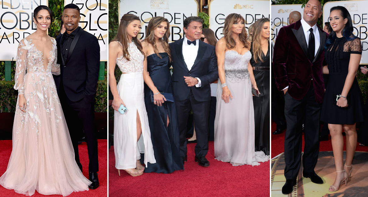 "Jaimie Foxx was joined by his daughter Miss Golden Globe Corrine Bishop, Creed star Sylvester Stalone graced the carpet with his lovely wife and daughters in tow, Dwayne ""Rock"" Johnson was also joined by his eldest daughter Simone Alexandra Johnson"