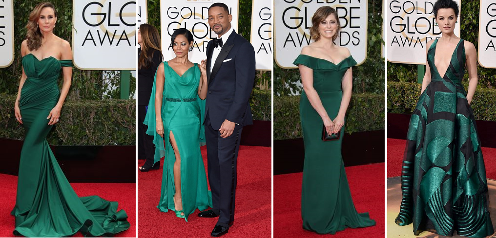 Emeralds were dazzling - Debbie Matenopoulos, Jada Pinkett-Smith in Versace with Will Smith, Rachel Bloom, Jaimie Alexander in Genny