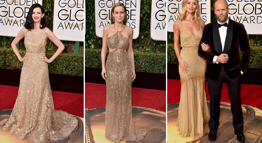 Golden Ladies - (from left to right) Eva Green in Elie Saab, Brie Larson in Ralph Lauren Collection and Rosie Huntington-Whitely in Atelier Versace with Jason Stratham