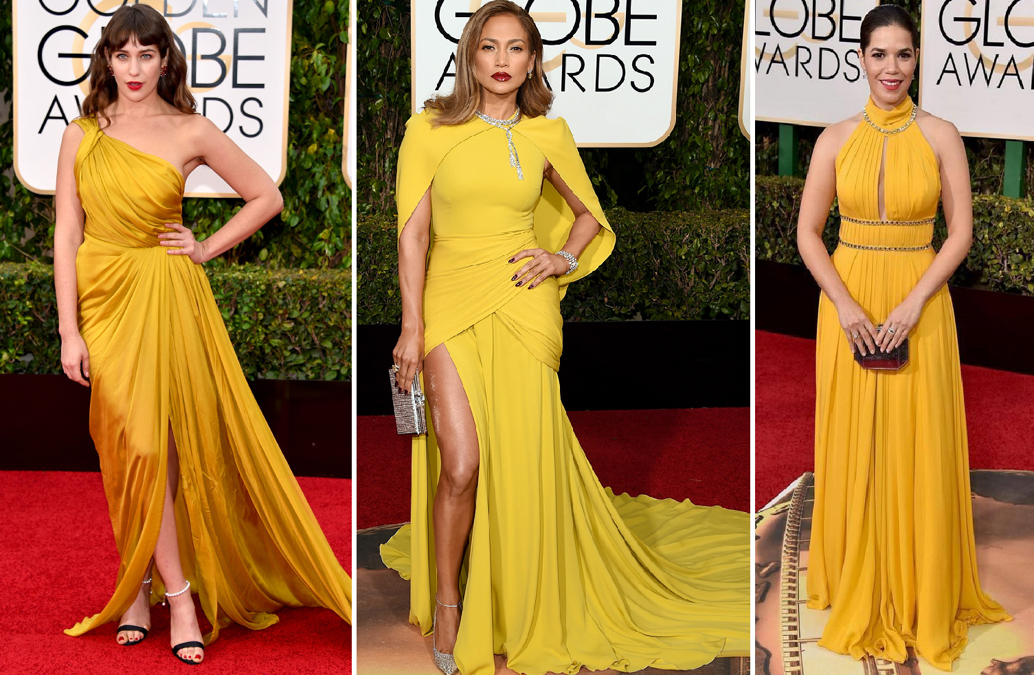Canary was the call - Lola Kirke, sister to Girls' Jemima Kirke in Monique L'Huilier, Jennifer Lopez in Giambattista Valli, America Ferrera in Jenny Packham
