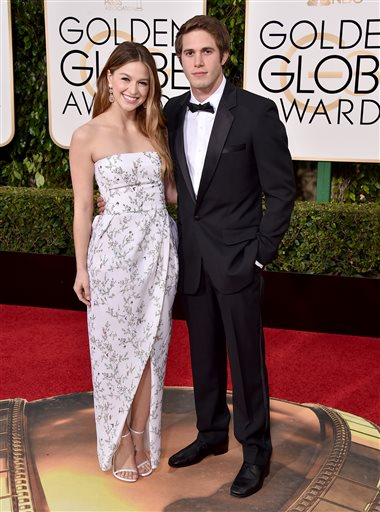 Melissa Benoist, left, and Blake Jenner arrive at the 73rd annual Golden Globe Awards on Sunday, Jan. 10, 2016, at the Beverly Hilton Hotel in Beverly Hills, Calif. (Photo by Jordan Strauss/Invision/AP)