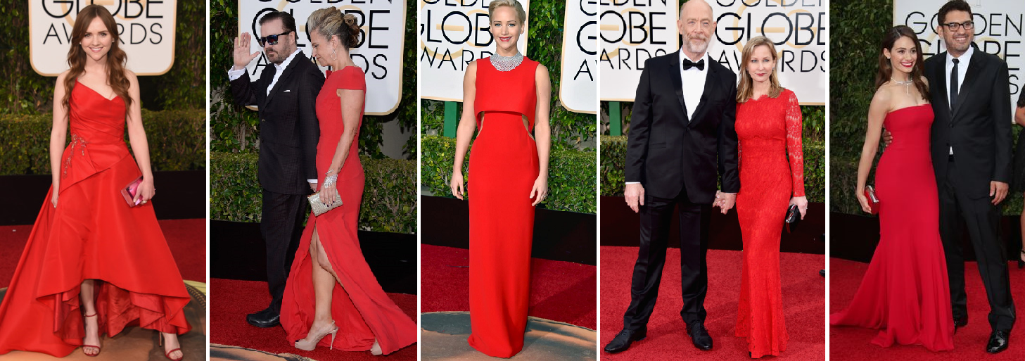 Ladies in Red - Tara Lynne Barr, Jane Fallon - host Ricky Gervais' partner, Jennifer Lawrence in Dior, Michelle Schumacher with J.K. Simmons, and Emmy Rossum in Armani Prive with fiance Sam Esmail