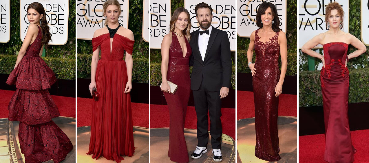 And shades of wine - Zendaya Coleman in Marchesa, Natalie Dormer in J. Mendel, Olivia Wilde in Michael Kors Collection with Jason Sudeikis, Felcity Huffman in Loreana Sarbu, and Bernadette Peters